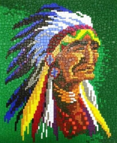 Mini Stecksystem Häuptling Sitting Bull ca 3.500 Teile mit XXL-Steckvorlage
