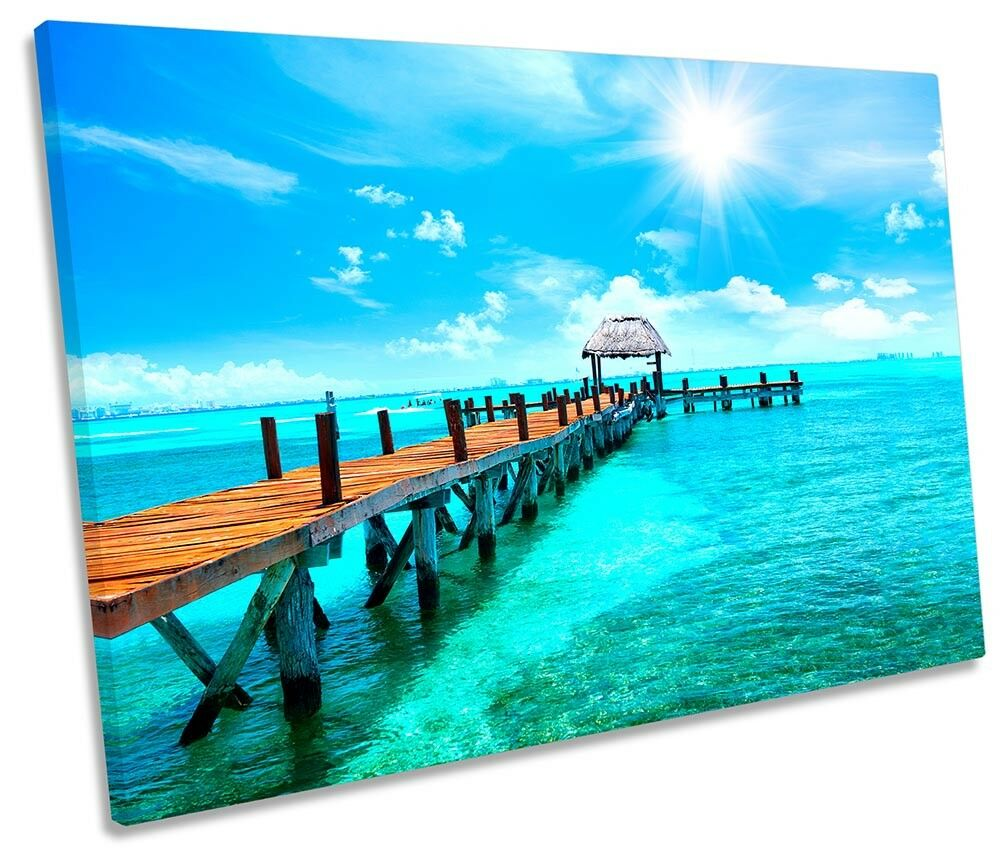 Cancun Mexico Beach Sea Framed SINGLE CANVAS PRINT Wall Art