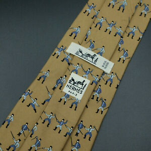 Vintage-Hermes-Paris-Made-In-France-Brown-Sword-Fencing-Pattern-Silk-Tie-667-OA