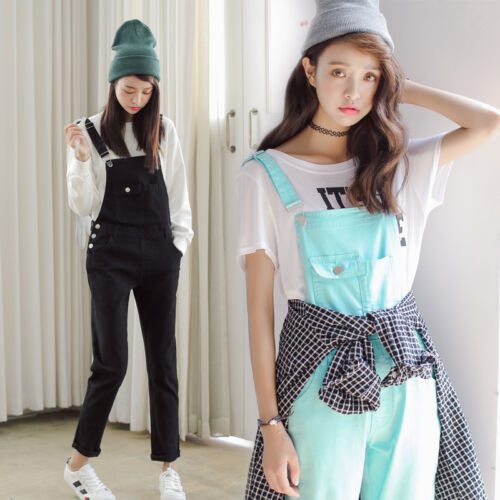 4 Colors Korean Sweet Casual Straps Bib Overall Denim Jumpsuit Playsuit Trousers