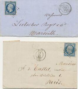 FRANKREICH-1856-Kaiser-Napoleon-III-20C-blau-Eckrandstueck-u-dunkelblau-2Briefe
