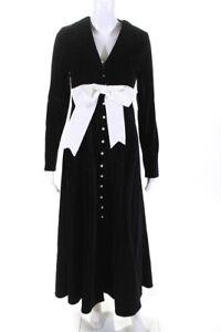 Rosie Assoulin Womens Long Sleeve Velvet Long Bow Coat Black Size 2