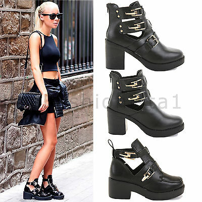 Para Mujer Damas media baja Alto Plataforma bloque talón Chelsea Botines Zapatos Talla