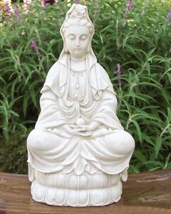 Image Is Loading Goddess Kwan Quan Yin White Stone Finish Garden