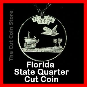 Florida-Sunshine-State-25-FL-Quarter-Cut-Coin-Necklace-NASA-Space-Shuttle