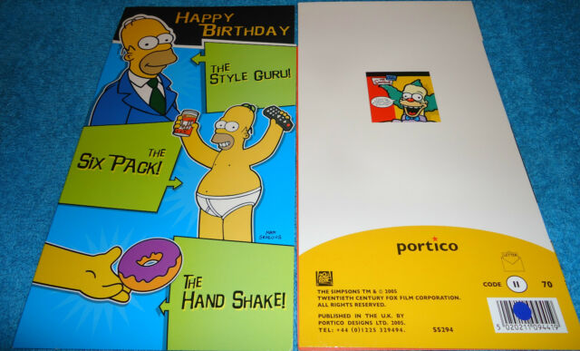 The Simpsons Homer Simpson Birthday Card Ebay