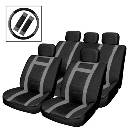 UNIVERSAL BLACK /& GREY HEAVY DUTY LEATHER LOOK CAR SEAT COVERS AIR BAG FRIENDLY