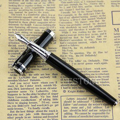 Black Baoer 3035 Stainless Medium M Nib Study Business Fountain Pen Gifts