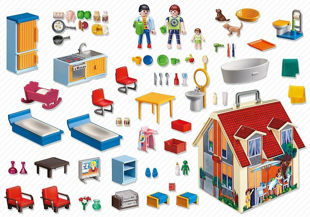 Playmobil Home dolls in shaped case set of set 5167 3 characters