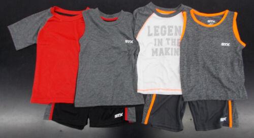 7 $35 3pc Gris avec rouge ou orange Shorts Sets Taille 2 T Toddler /& Garçons STX $31