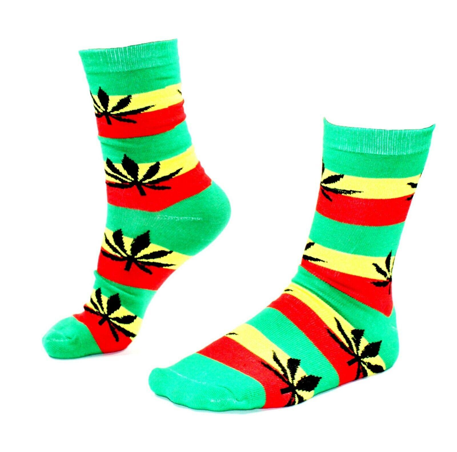 Damen Freizeit Socken Halblang Jamaica mit schwarzen Hanfblättern Gr. 36-42