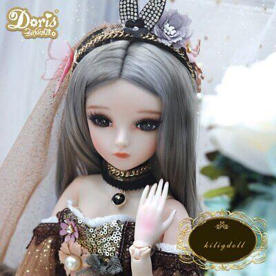 1//3 BJD Doll Puppe Freie Augen Gesicht Make-Up Perücke Kleidung Girls Full Set