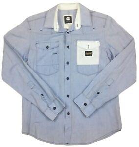 G-Star-Raw-Mavado-Empire-Long-Sleeve-Blue-Shirt-Size-Small-1-Button-Replaced