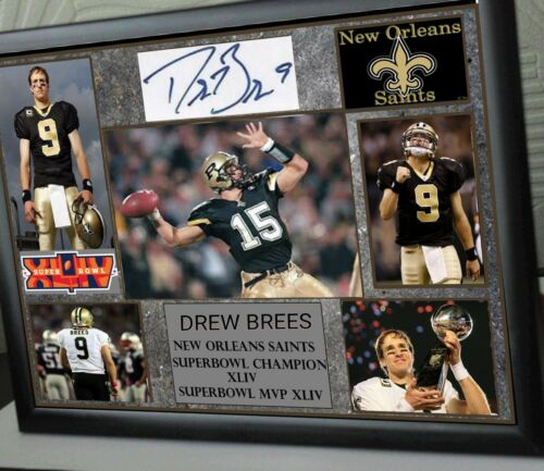 DREW BREES Framed Canvas Portrait Signed Great Gift