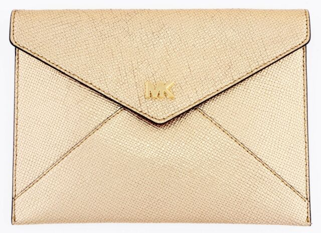 73f4efb6c11780 Michael Kors Pale Gold Leather Barbara Soft Envelope Clutch Evening Purse  Bag