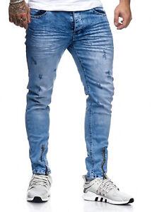 JEANS-Uomo-Biker-Jeans-Pantaloni-Blu-destroyed-Stonewash-denim-slim-fit-John-Kayna