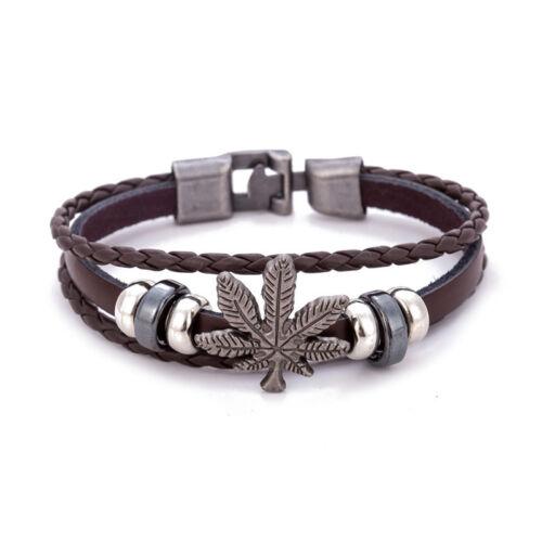 Fashion Cuir Bracelet Pour Hommes Femmes Vintage Leaf Weed Charm Bracelets Bracelets