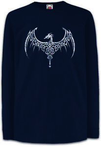 CELTIC-DRAGON-III-Kinder-Langarm-T-Shirt-Celts-Sign-keltischer-Drache-Kelten
