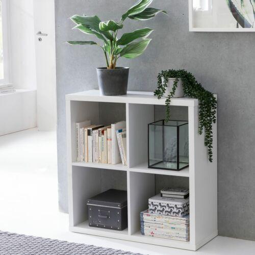 FineBuy Raumteiler Weiß 4 Fächer Bücherregal Wandregal Standregal Würfelregal