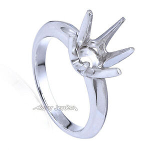 Six-Prong Knife Edge Ring Mounting 18K White Gold Yellow, or Rose Gold in 18k