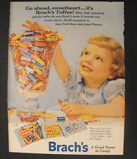 1956 BRACH'S Toffee~Jelly Nougats~nut Goodies Candy Print Ad