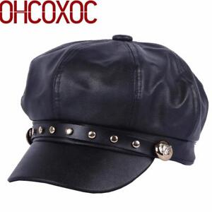 7c53bc02e1a Image is loading Octagonal-Hat-Newsboy-Cap-Beret-Black-Faux-Leather-