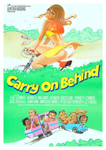 poster Carry On Behind : Vintage comedy Movie advert Reproduction. Wall art