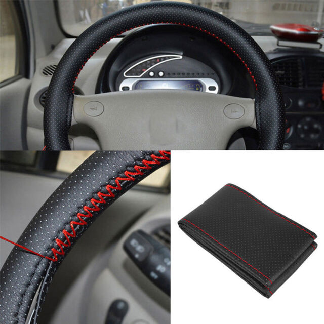 Black+Red PU Leather DIY Car Steering Wheel Cover 38cm With Needle And 2Y