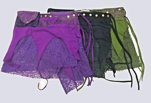 Ladies-M-L-Wrap-Mini-Pixie-skirt-Tribal-Hippie-Rave-3-pockets-pleather-amp-Lace