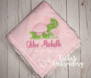 turtle girl baby blanket custom name blanket boy or girl Baby girl sea turtle name blanket personalized baby gift baby shower gift