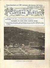 BOLLETTINO DELLE CARTIERE BURGO _ XXV anniversario fondazione _ 1930 _ incendio