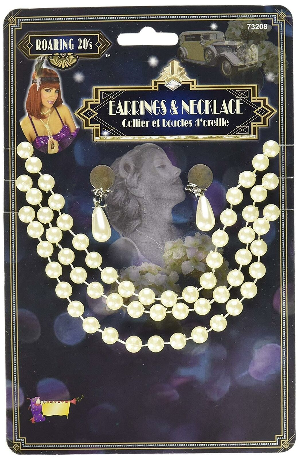 Beige Faux Pearl Adult Costume Earring & Necklace Accessory