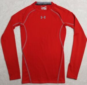 Under-Armour-Mens-Heat-Gear-Compression-Small-Red-Crew-Neck-Athletic-Shirt-NWOT