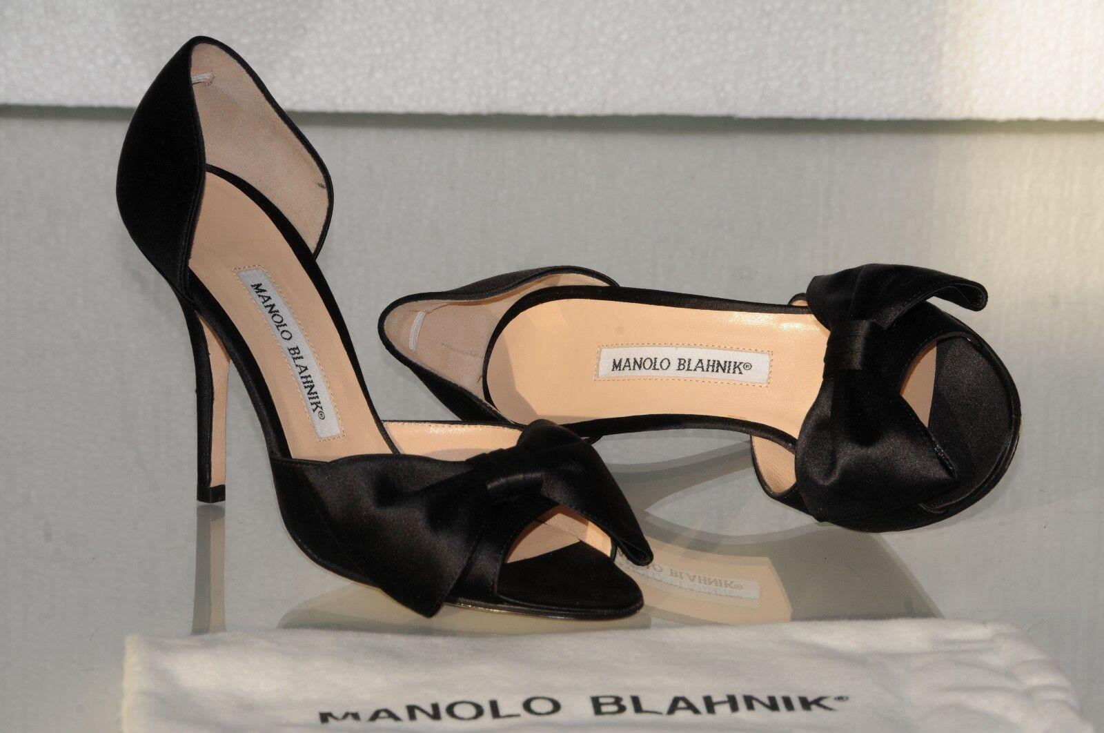 775 New MANOLO BLAHNIK CLAUSADO BOW BLACK SATIN Dorsay Heels SHOES 36.5 40.5