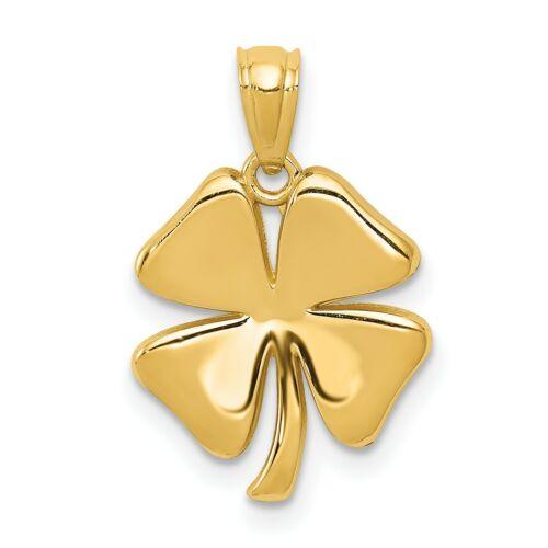 14K Yellow Gold Polished Four Leaf Clover Charm Pendant 0.90gr