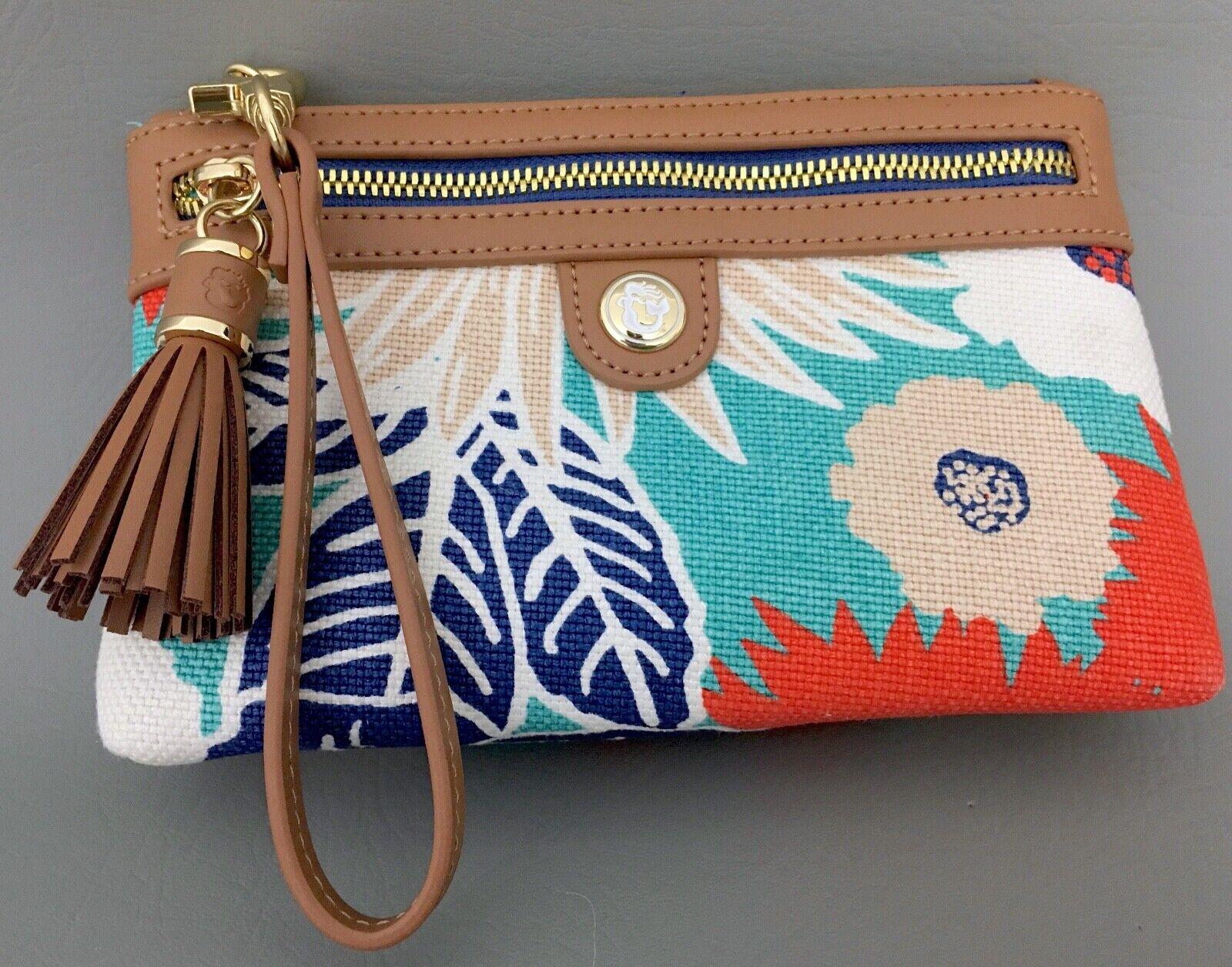 SPARTINA Multicolor Floral Print Canvas-Brown Leather Trim Wristlet, Clucth-EUC!