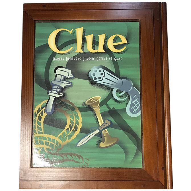 Clue Vintage Game Collection Wooden Library Book Shelf Wood Box Complete