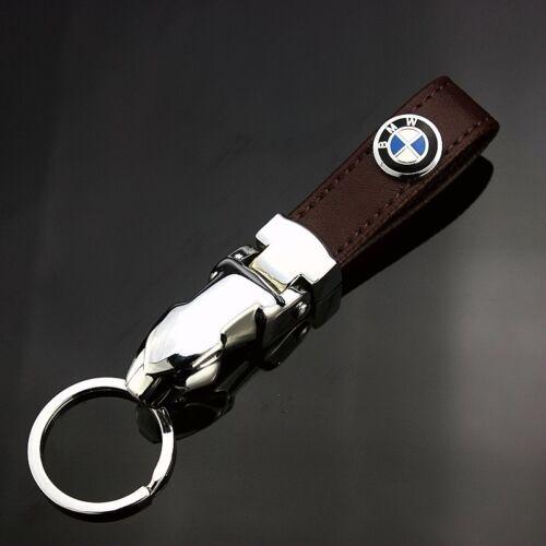 High Quality Zinc Alloy Genuine Leather Car Key Chain Fit For BMW Auto