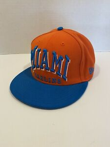 Miami Marlins MLB New Era 9Fifty ORANGE/BLUE Adjustable Strapback Cap Hat - OSFA