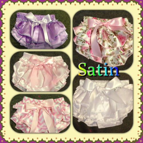 BABY GIRL BLOOMERS RUFFLE NAPPY COVER  5 DIFERENT COLOURS SOFT SATIN
