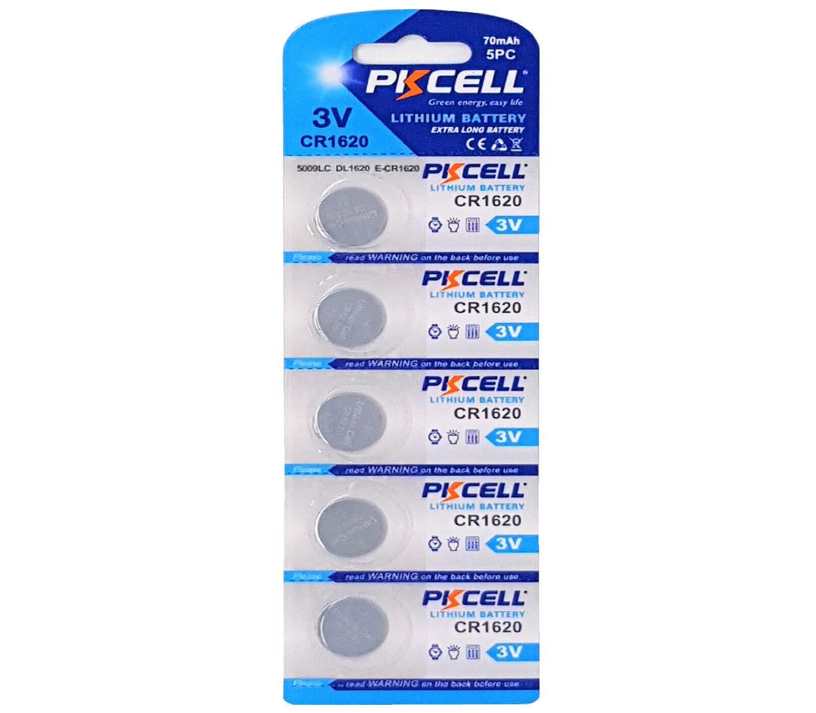 ☀ ☀ ☀ ☀ ☀ 5 x CR1620 3V Lithium Button Cell 70 Mah (1 Card A 5 batteries) PK