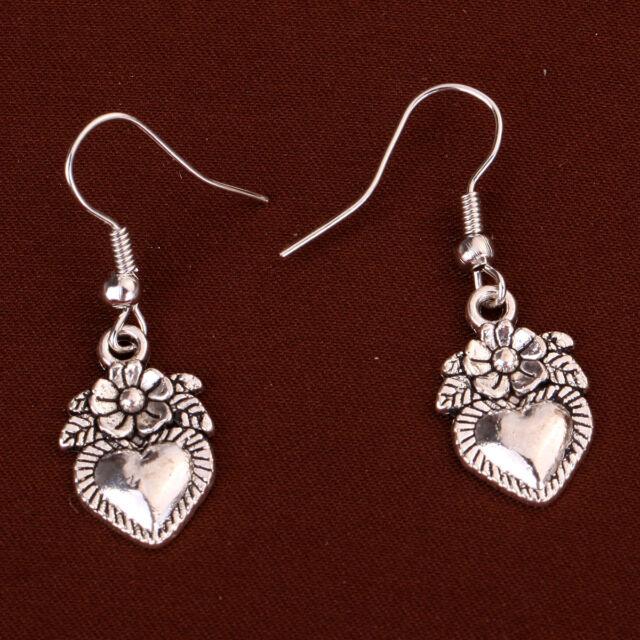 Fashion Design Jewelry Tibetan Silver Peach Heart Flower Leaf Dangle Earrings