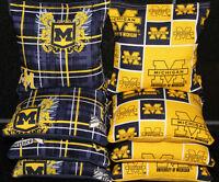 8 Cornhole Bean Bags Made W University Of Michigan Wolverines Fabric