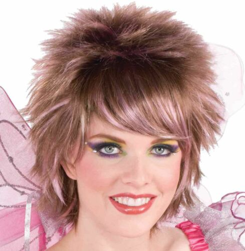 Fairy Wig Pixie Brunette Streaks Pink Short Fantasy Costume Accessory Womens Hot
