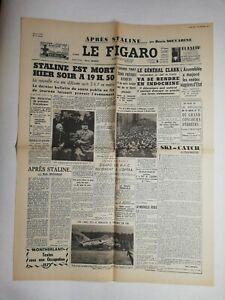 N824-La-Une-Du-Journal-Le-Figaro-6-mars-1953-Staline-est-mort-a-19h50