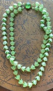 Vintage-West-Germany-Two-Strand-Green-amp-Clear-Lucite-Floral-Necklace-21