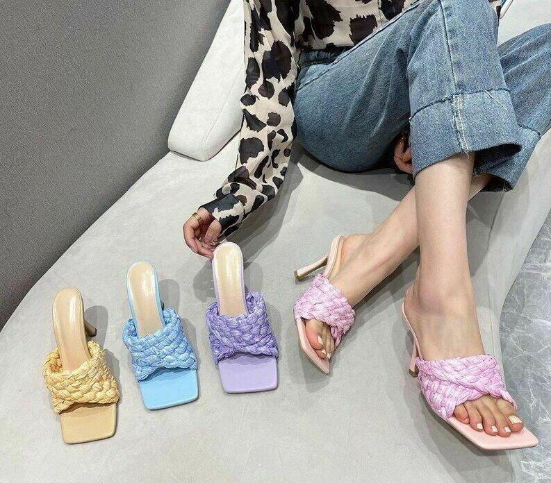 Sandals Wedding Weave Slipper Candy Color Soft Leather High Heels Square Toe New