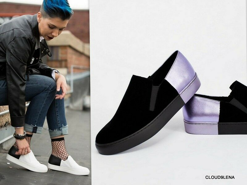 Nuevo libre la gente Terciopelo Terciopelo Terciopelo Púrpura Negro Cuero Varsity Slip-On Zapatillas Tamaño 39 8.5  increíbles descuentos