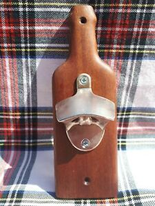 Mahogany Wall Mounted Bottle Opener - Ideal Father's Day Gift