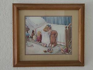 Framed-VTG-Art-Little-Girl-amp-Friends-Bedtime-Prayer-Artist-H-Muradian